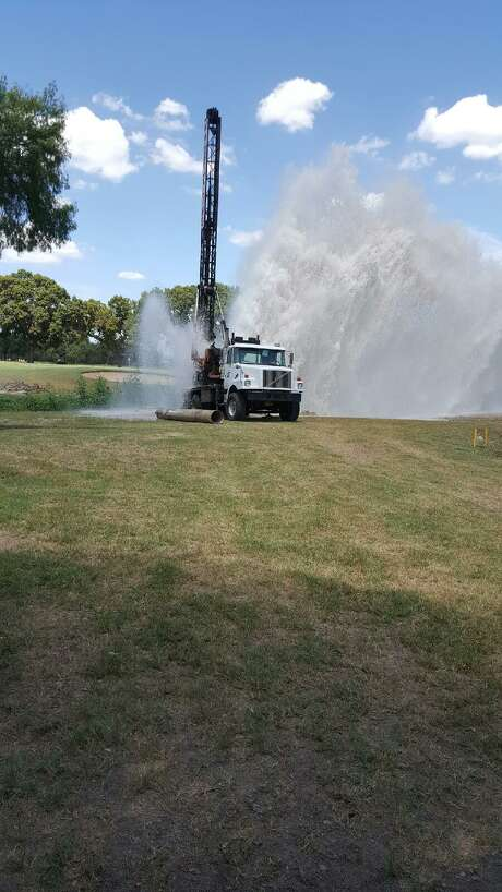 The San Antonio Water System responded to a water main break on Olmos Basin Golf Course on Monday. Photo: Courtesy /San Antonio Water System