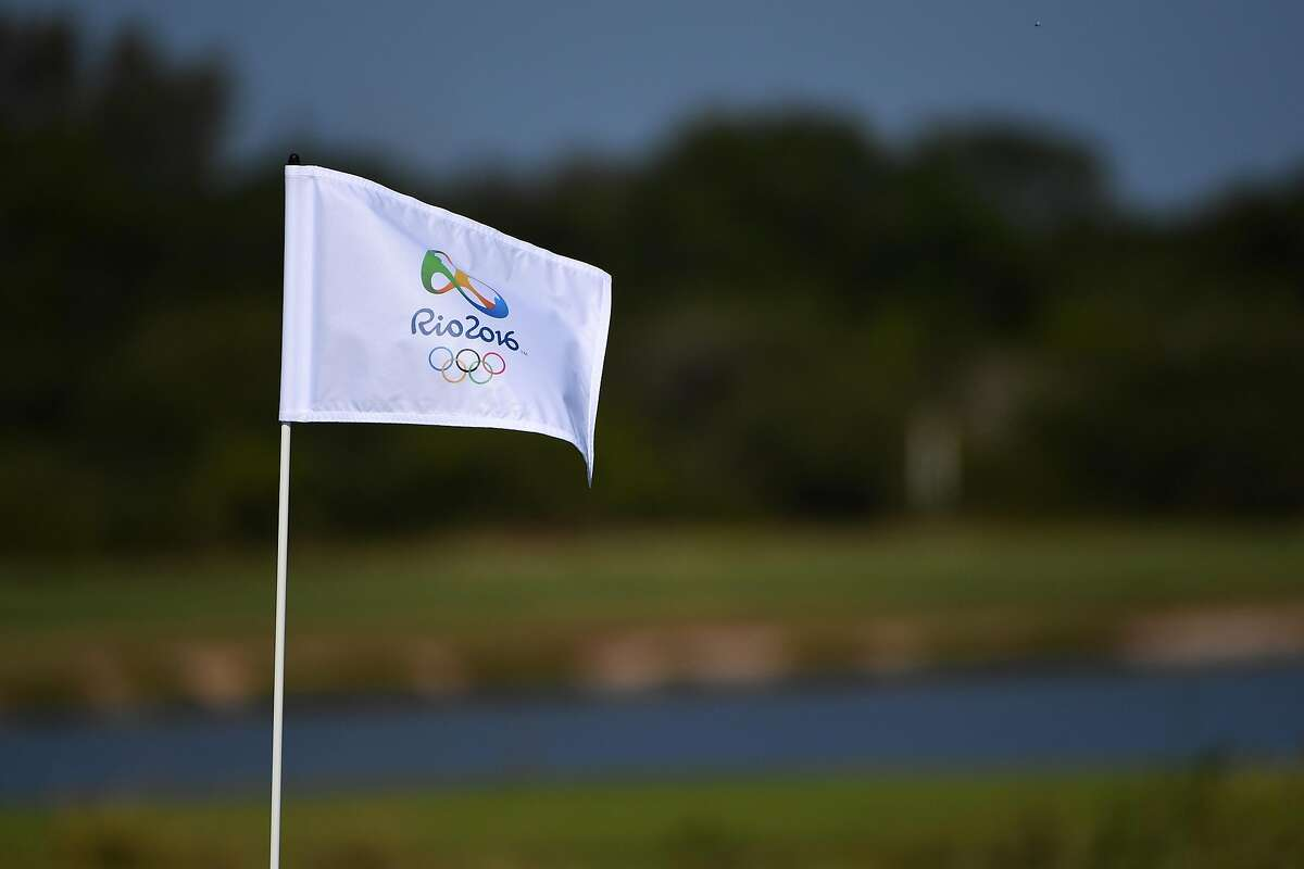RIO DE JANEIRO, BRAZIL - AUGUST 05: A pin flag flies during a practice round at the Olympic Golf Course prior to the Rio 2016 Olympic Games on August 5, 2016 in Rio de Janeiro, Brazil. (Photo by Ross Kinnaird/Getty Images)