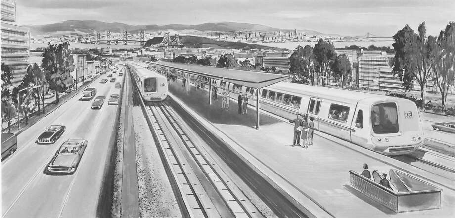 An architectural drawing handed out by Bay Area Rapid Transit, showing what BART would look like in the future. Photo: Courtesy BART, 1965