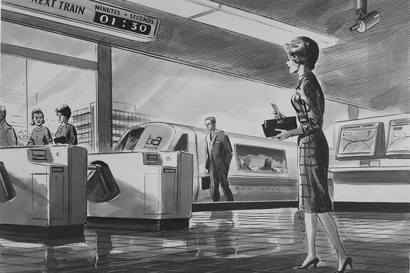 April 21, 1965: An architectural drawing handed out by Bay Area Rapid Transit, showing what BART would look like in the future.