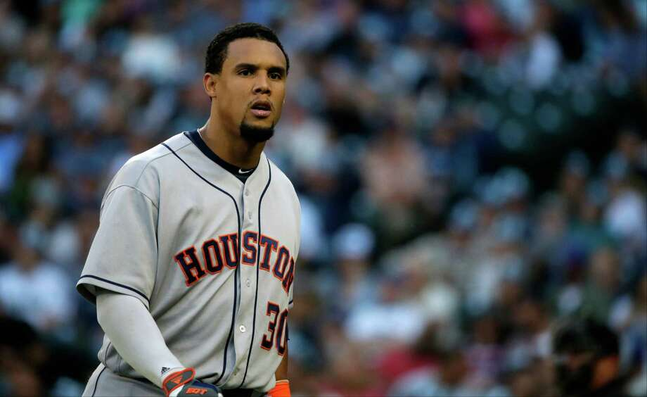 Carlos Gomez misplayed balls on consecutive at-bats in the fifth, costing starter Collin McHugh two runs, the difference in the game. Photo: Ted S. Warren, Associated Press / AP