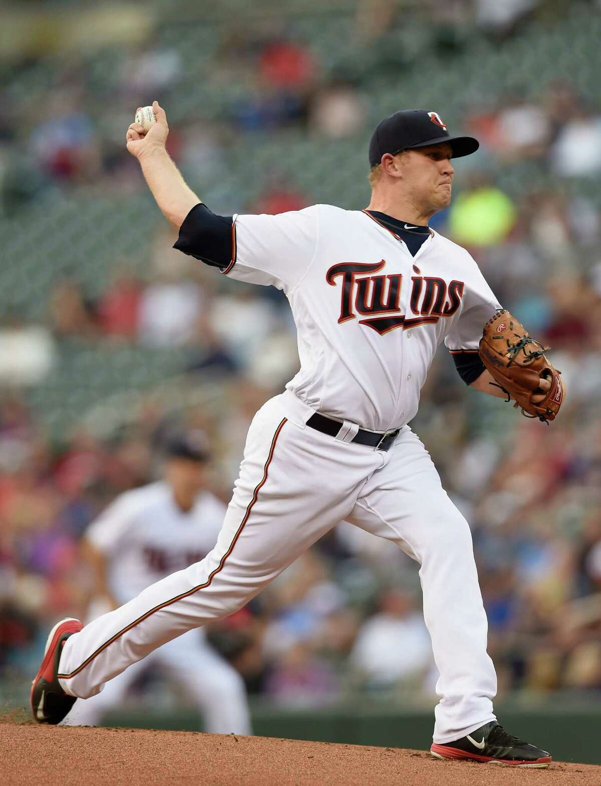MINNEAPOLIS, MN - AUGUST 08: Tyler Duffey #56 of the Minnesota Twins delivers a pitch against the Houston Astros during the first inning of the game on August 8, 2016 at Target Field in Minneapolis, Minnesota.