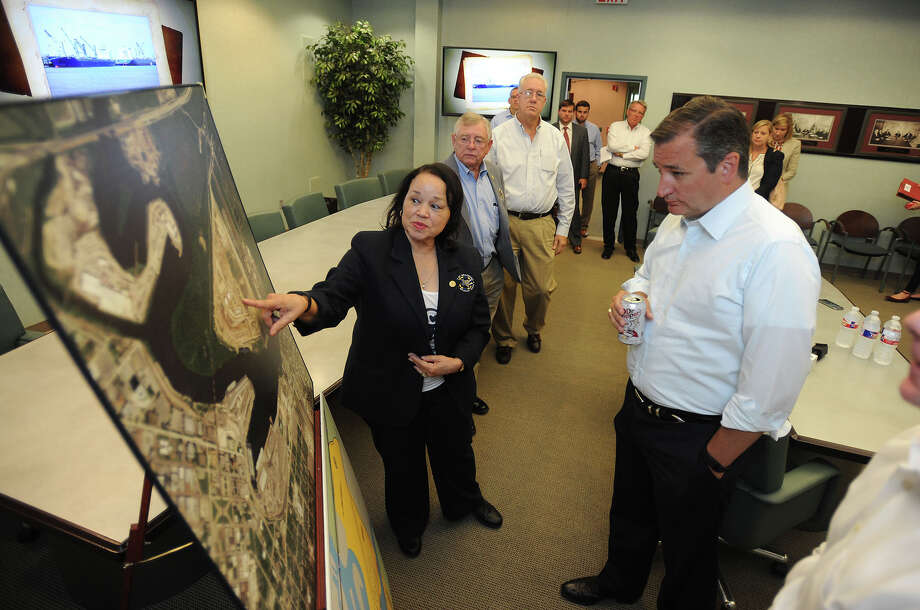 Georgina Guillory a Port of Beaumont commissioner and U.S. Sen Ted Cruz go over a map of the Port during the junior Texas senatoré•s visit on Monday. Cruz briefly spoke to the commissioners, brushing on topics of dredging and Port expansion plans, then toured the facility.    Photo taken August 08, 2016 Guiseppe Barranco/The Enterprise Photo: Guiseppe Barranco, Photo Editor