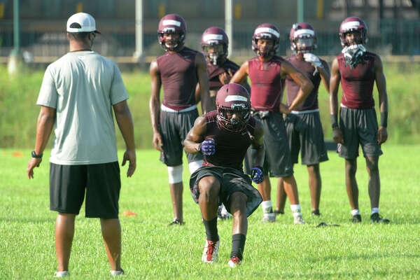 Central players run drills during practice on the Jaguar's practice field Monday. Photo taken Monday, August 08, 2016 Guiseppe Barranco/The Enterprise