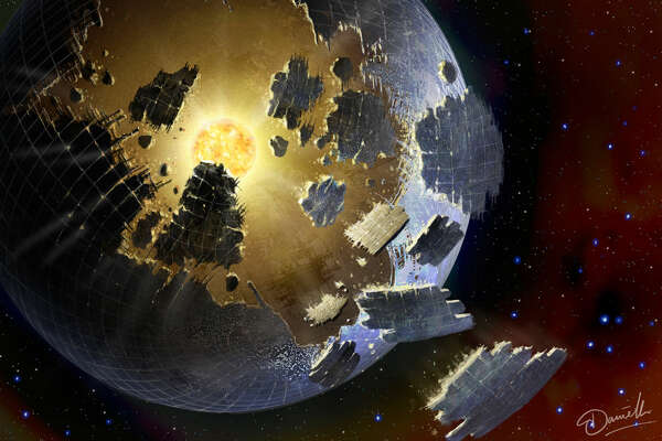 Illustration of a Dyson sphere, a theorized structure that a  civilization would build to capture the full energy output of its sun.  (Related news release:   No extraterrestrial laser pulses detected from  KIC 8462852, new SETI organization reports  )