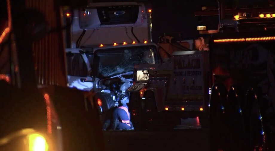 A passenger was killed after a box truck crashed into a big-rig early Tuesday morning along northbound I-880 in Hayward. Photo: KTVU