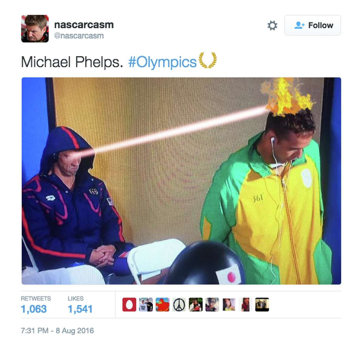 Phelps' tendency to listen to music while wearing his hood up caught the attention of the internet at this year's Olympics, who had fun with this photo of Phelps' intense game-face and fellow competitor, Chad le Clos.