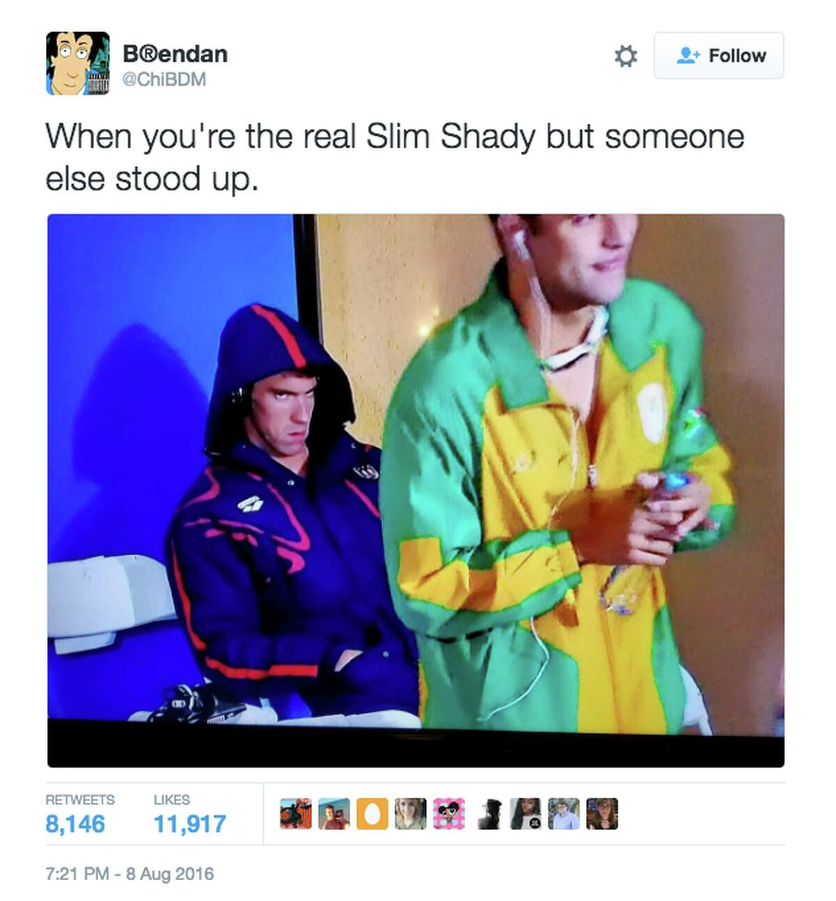 The internet had fun with Michael Phelps' game-face on Monday evening at the Rio Olympics.