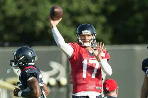 Houston Texans quarterback Brock Osweiler (17) throws a pass during Texans training camp at Houston Methodist Training Center on Tuesday, Aug. 9, 2016, in Houston.