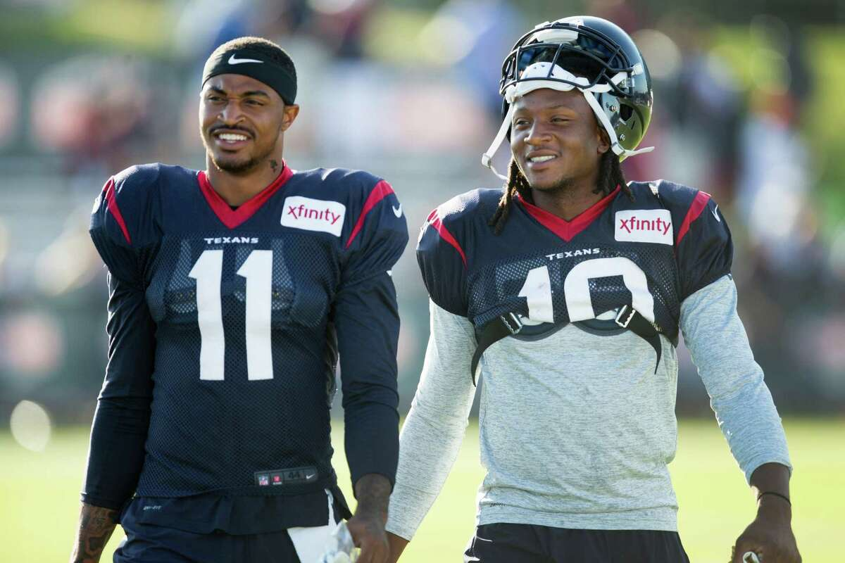 2. Wide receiver Although Jaelen Strong (left) has taken an initial lead on the depth chart as the starter ahead of rookie first-round draft pick Will Fuller, the Texans will use plenty of three wide receiver sets that employ Fuller's speed. Strong and Fuller have different strengths. Strong is a bigger downfield target who operates adeptly in the slot or outside. Fuller has superior speed and has caught the football much better than his advance billing from his Notre Dame days. Undrafted rookie Wendall Williams should be interesting to watch in the second half. The 25-year-old former truck driver and NAIA track All-American runs the 40-yard dash in 4.32 seconds and had an unofficial time of 4.19 seconds.