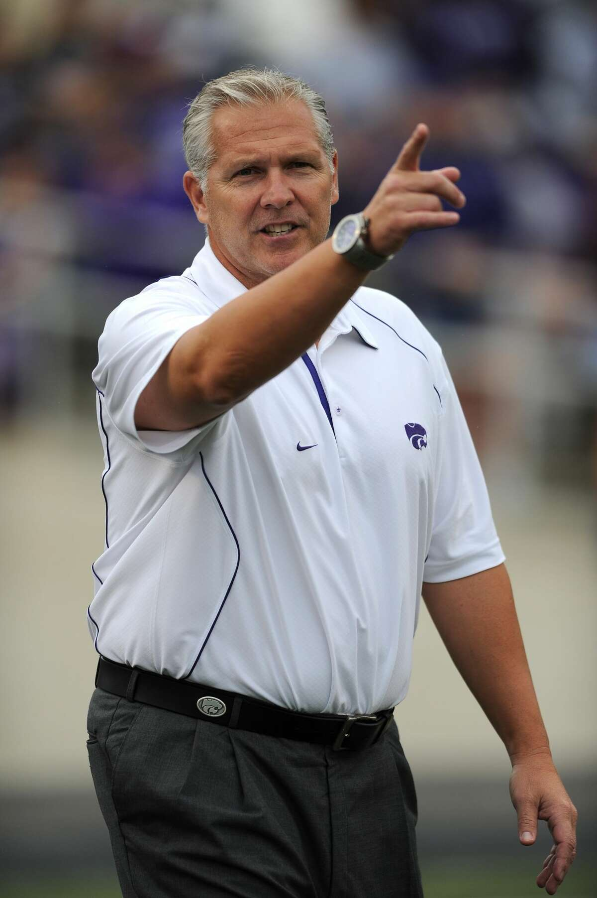 MANHATTAN, KS - SEPTEMBER 25: Offensive Coordinator Dana Dimel of the Kansas State Wildcats as seen during a game against the Central Florida Knights on September 25, 2010 at Bill Snyder Family Stadium in Manhattan, Kansas. Kansas State defeated Central Florida 17-13. (Photo by Peter G. Aiken/Getty Images)