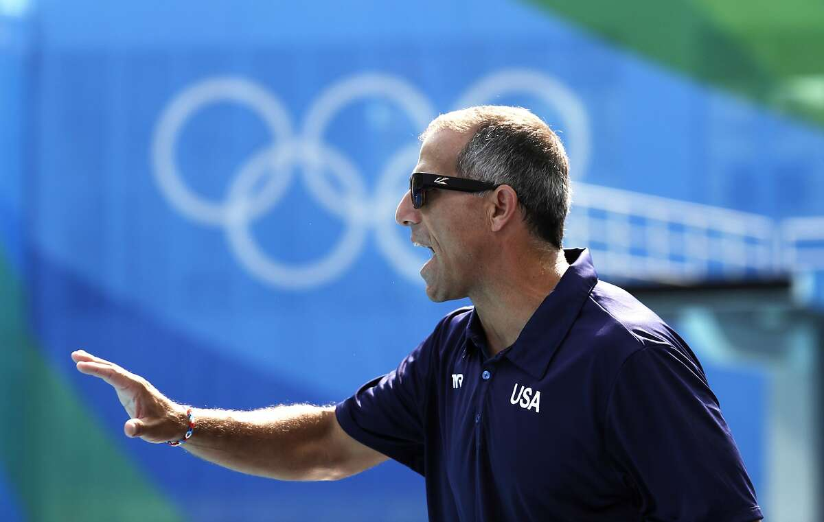 United States' coach Adam Krikorian reacts as he watches his team play against Spain during their women's water polo preliminary round match at the 2016 Summer Olympics in Rio de Janeiro, Brazil, Tuesday, Aug. 9, 2016.