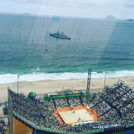 A high level view of the Olympic beach volleyball venue