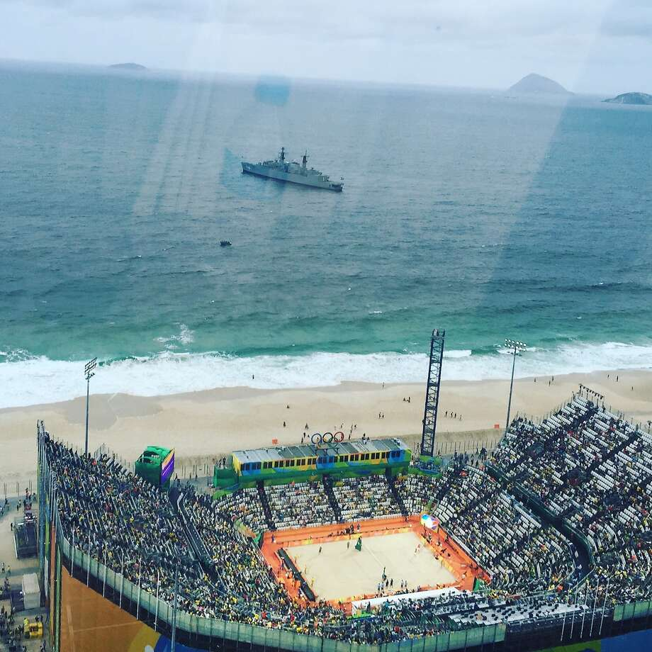 A high level view of the Olympic beach volleyball venue Photo: Ann Killion