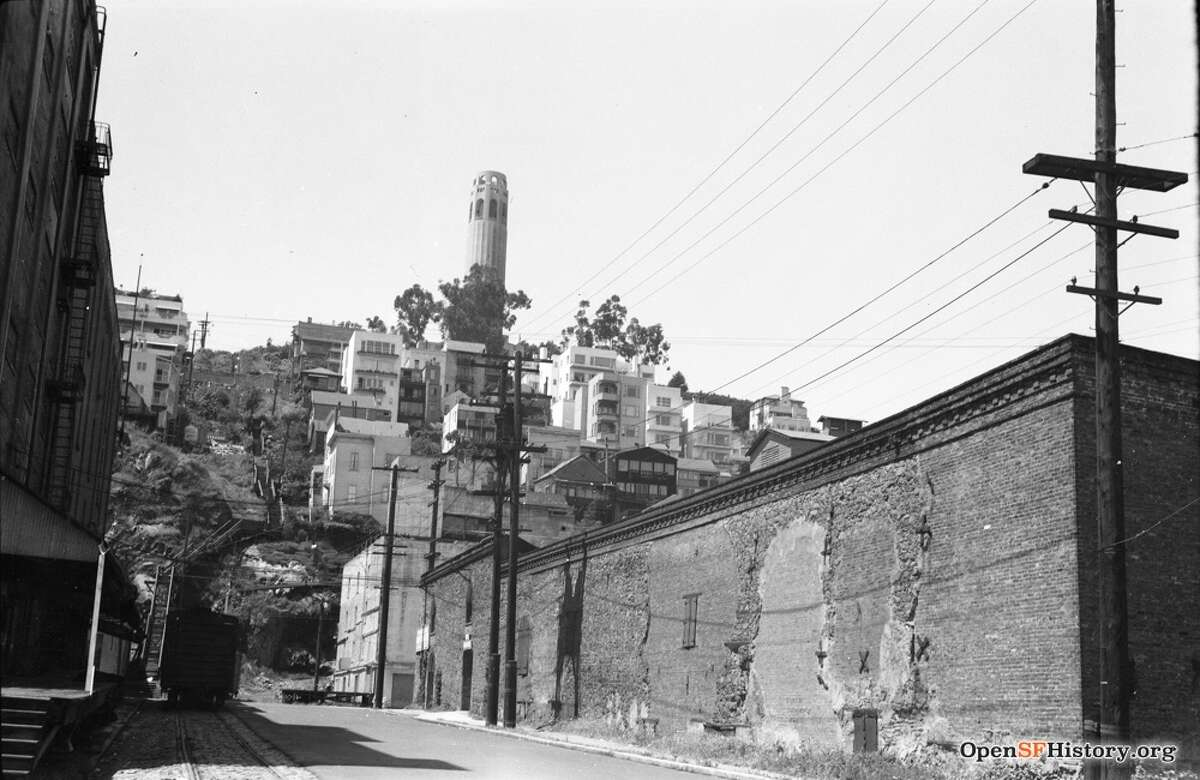 Coit Tower & Filbert Stairs circa 1960. Courtesy of OpenSFHistory.org.