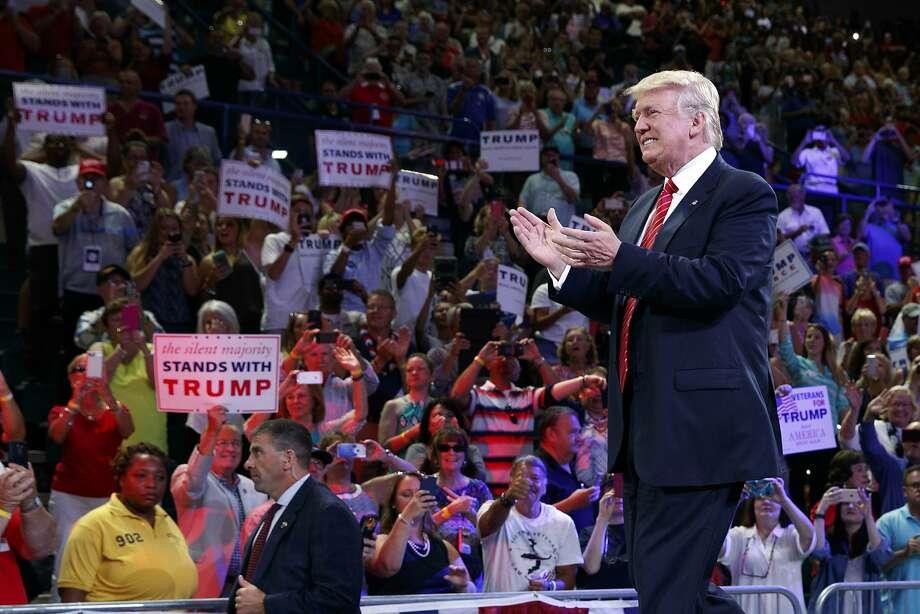 Republican presidential candidate Donald Trump prepares to speak at the University of North Carolina. Photo: Evan Vucci, Associated Press