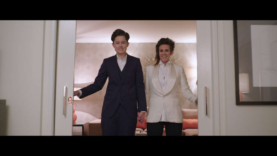 Rhea Butcher (left) and Cameron Esposito in their new comedy series for Seeso. Photo: Take My Wife