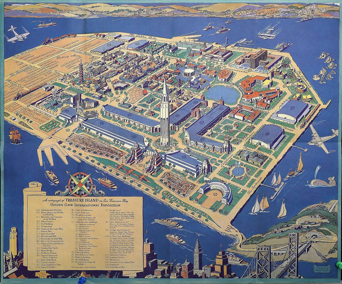 """Copy of a historic """"3-D"""" map of Treasure Island on Monday, August 8, 2016, in San Francisco, Calif."""