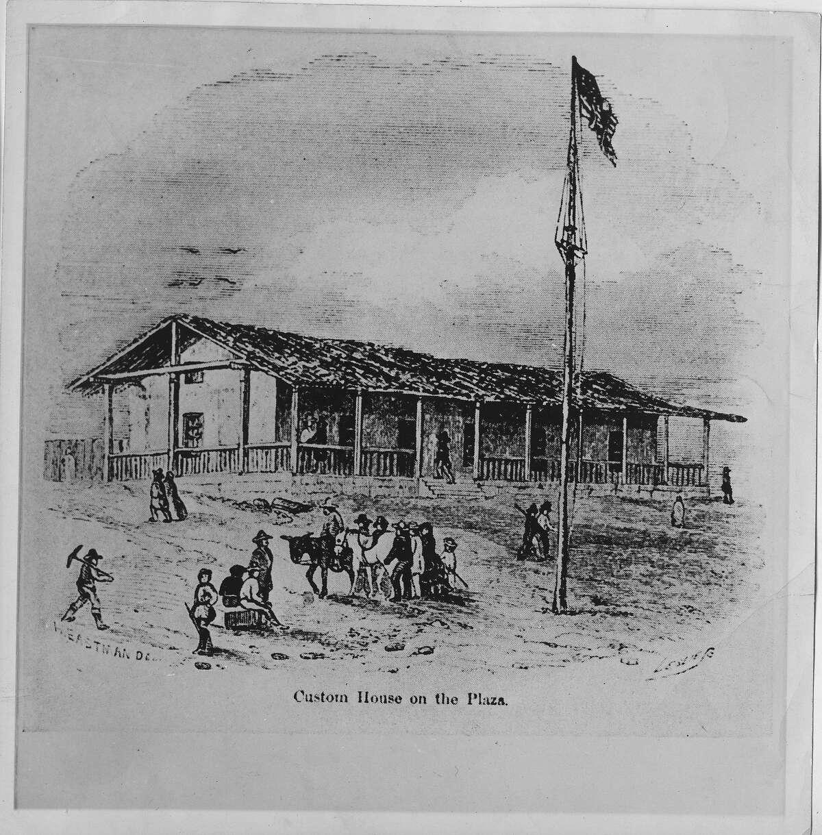"""A print of the Mexican Custom House in the Plaza of the port of Yerba Buena, later referred to as the """"Old Adobe."""" (also spelled Customhouse.) The Plaza was later named Portsmouth Square, named after the sloop USS Portsmouth that was used when the Americans claimed Alta California for the United States on July 9, 1846. The American flag was run up on the flag pole in front of the Customs House and the building was taken over. Yerba Buena was renamed San Francisco on January 30, 1847."""