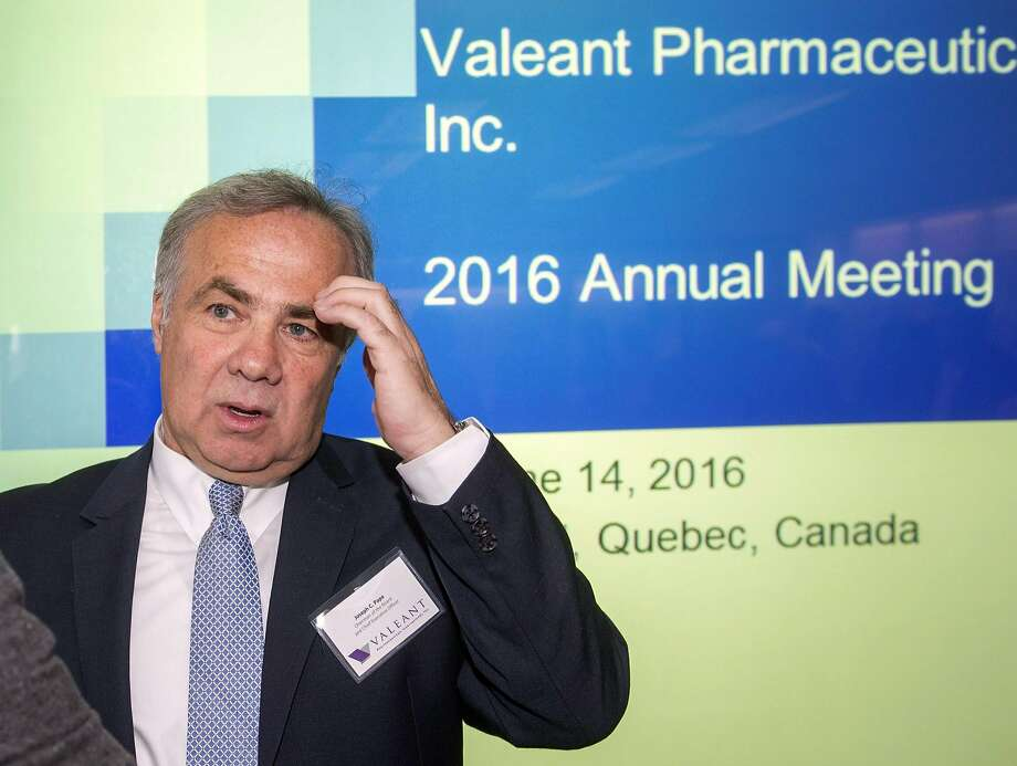 Valeant Pharmaceuticals CEO Joseph Papa speaks to shareholders at the company's annual meeting. Photo: Ryan Remiorz, Associated Press