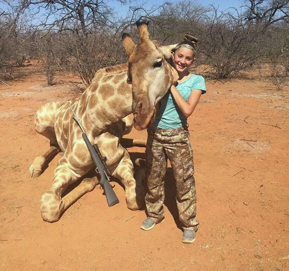 Aryanna Gourdin, 12, pictured alongside some of her recent hunts, which are causing controversy online.  Photo: Provided By Mark Martineau/Rack Em Up Sports