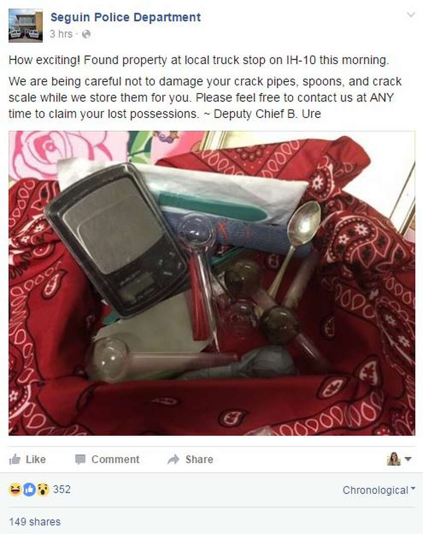 Are these items yours? Seguin Police posted to Facebook on Tuesday Aug. 9, 2016 to let the owners of lost drug paraphernalia know they would store the items for them, if they would like to reclaim them.
