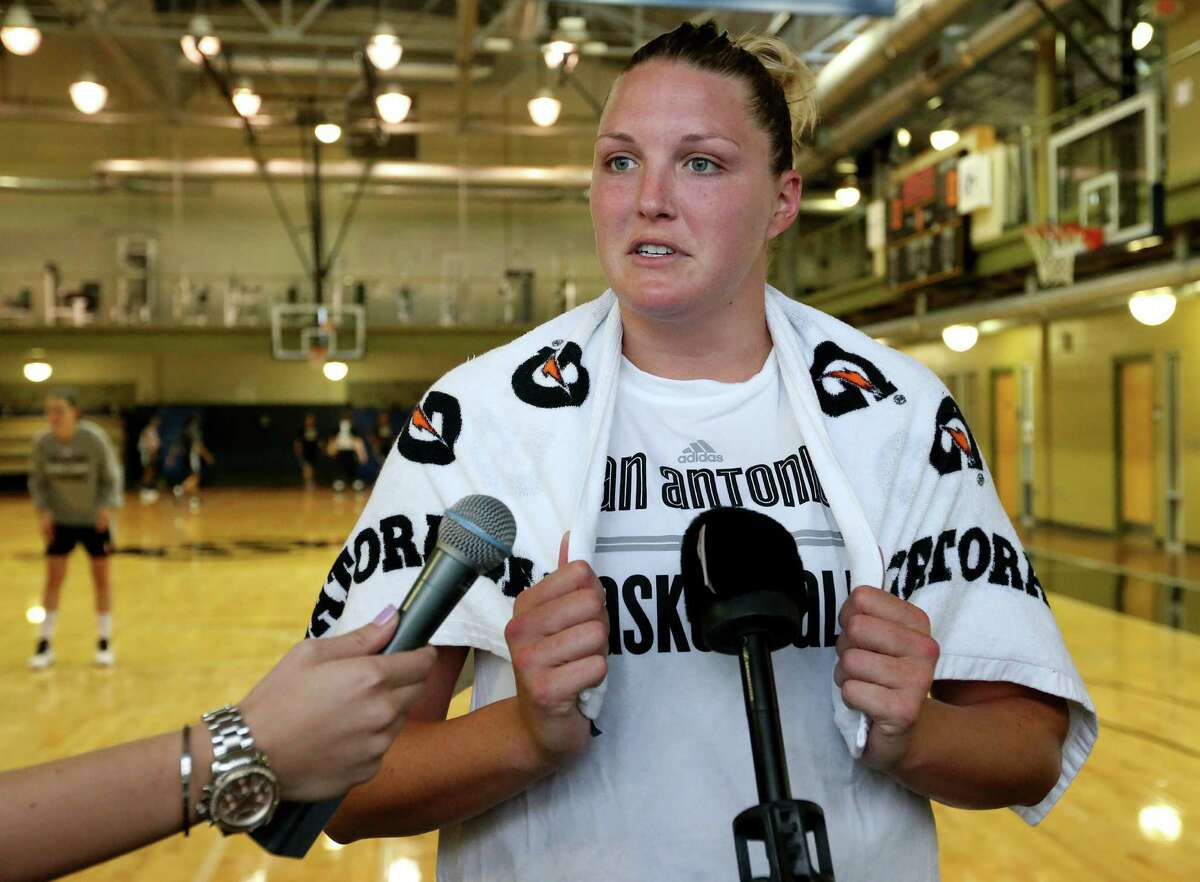San Antonio Stars' Jayne Appel-Marinelli answers questions from the media after the first on-court day of training camp on April 25, 2016 at the Antioch Sports Complex.