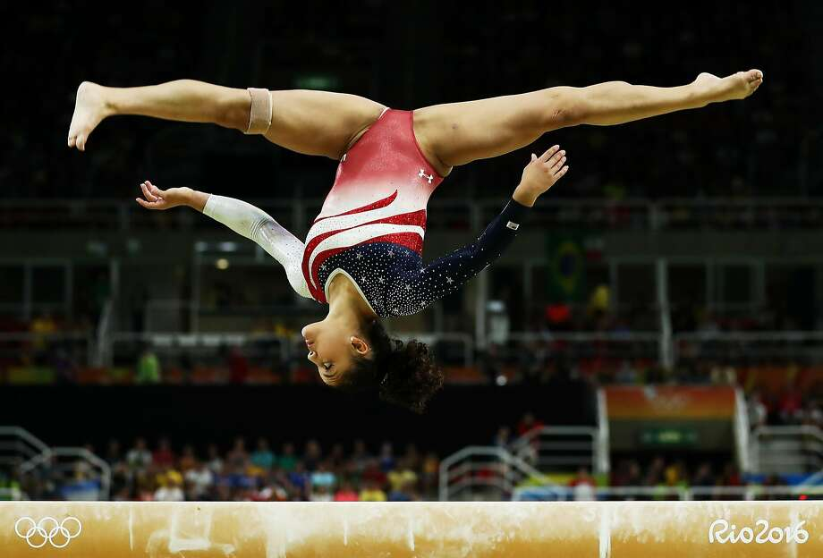Lauren Hernandez, 16, who will be a face of the program for the next four years, had a solid performance on balance beam. Photo: Lars Baron, Getty Images