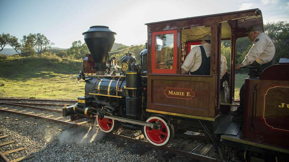 John Lasseter rides the Marie E., his steam train that he bought and moved to Glen Ellen. It was previously owned by Ollie Johnston, a pioneering Disney animator who mentored Lasseter and worked with Walt Disney. Photo: Morgan Schmidt-Feng