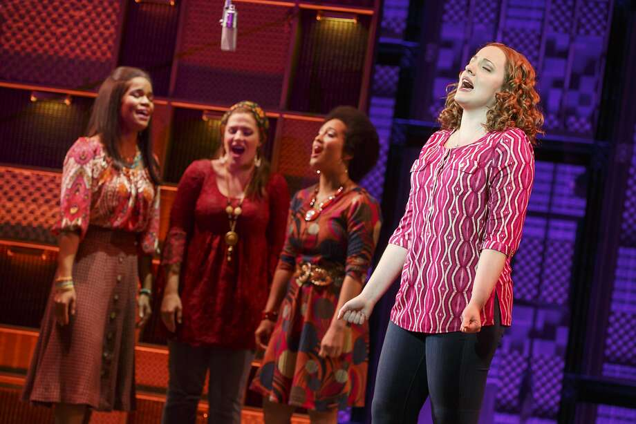 """Carole King (Abby Mueller, foreground) sings """"Natural Woman"""" with backup singers (from background left:Britney Coleman, Sarah Bockel and Ashley Blanchet). Photo: Joan Marcus, SHN"""