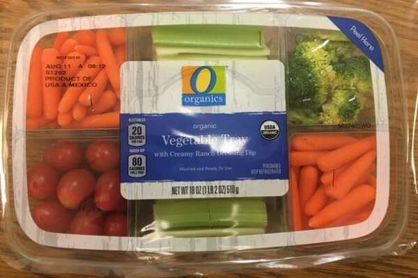 Mann Packing is voluntarily recalling 844 cases of 18-ounce O Organics Organic Vegetable Tray with Creamy Ranch Dressing Dip because the product ingredients label does not identify three ingredients that could pose an allergen risk — egg, milk and soy. Photo courtesy of the U.S. Food and Drug Administration.