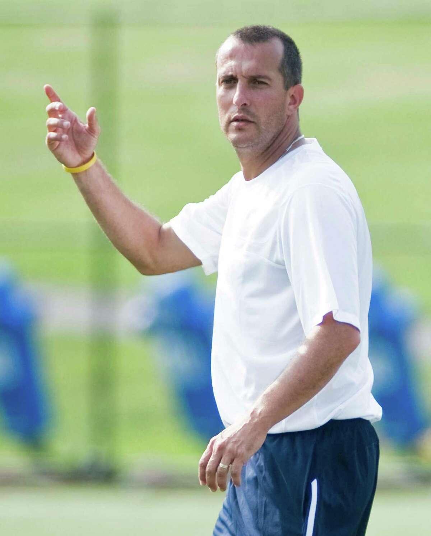 Western Connecticut State University women's soccer head coach Joe Mingachos during a game against Catholic University. Saturday, Sept. 3, 2011