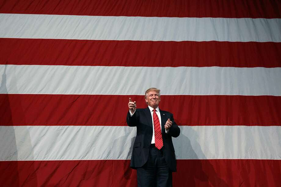 Republican presidential candidate Donald Trump arrives for a campaign rally at Crown Arena, Tuesday, Aug. 9, 2016, in Fayetteville, N.C. (AP Photo/Evan Vucci) Photo: Evan Vucci, Associated Press