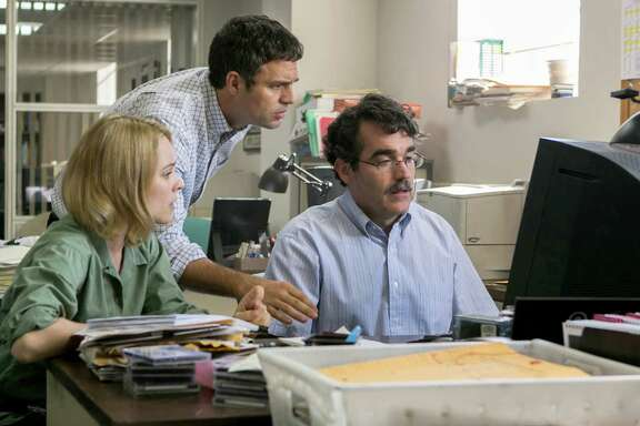 "(L-r)  Rachel McAdams as Sacha Pfeiffer, Mark Ruffalo as Michael Rezendes and Brian d'Arcy James as Matt Carroll in ""Spotlight.""  As John Oliver says, now is a very good time to be a corrupt politician. Between buyouts, layoffs and news-hole reductions, there's hardly anyone paying attention. (Kerry Hayes/Open Road Films.)"
