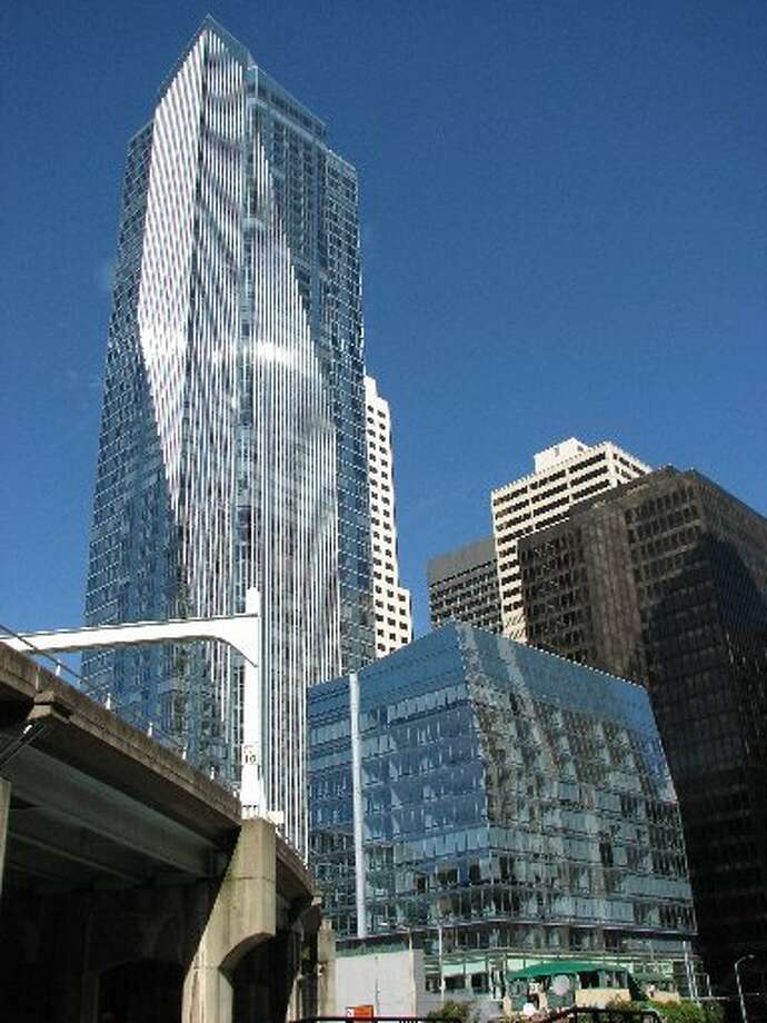 The glistening Millennium Tower a year after it opened in downtown San Francisco in 2009. The high-end condo building is now sinking. Photo: John King