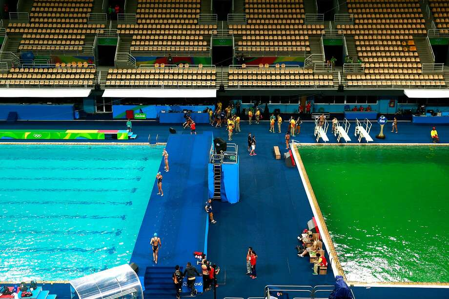 RIO DE JANEIRO, BRAZIL - AUGUST 09:  General view of the diving pool at Maria Lenk Aquatics Centre on Day 4 of the Rio 2016 Olympic Games at Maria Lenk Aquatics Centre on August 9, 2016 in Rio de Janeiro, Brazil.  (Photo by Adam Pretty/Getty Images) Photo: Adam Pretty, Getty Images
