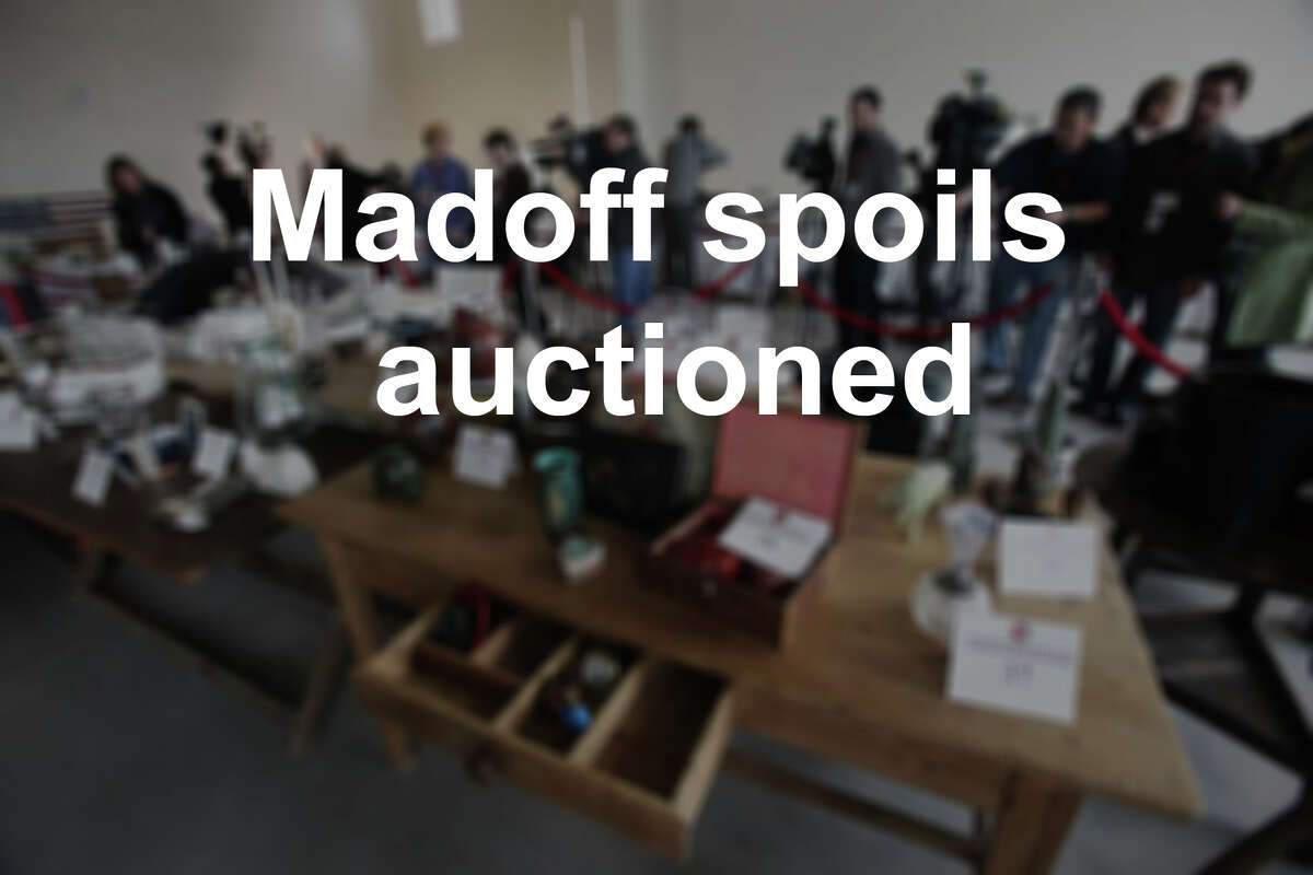 NEW YORK - NOVEMBER 10: Items are displayed at a press preview of an auction of 400 pieces of personal property, jewelry, and antiques from Bernard and Ruth Madoff November 10, 2010 in the Brooklyn borough of New York City. The United States Marshals Service will conduct the auction of property seized in connection with Madoff's criminal prosecution and the proceeds will be deposited into a fund compensating victims of the multi-billion dollar fraud. The auction will occur at 10:00 a.m. on November 13, 2010 online and live at the New York Sheraton Hotel and Towers. (Photo by Mario Tama/Getty Images)