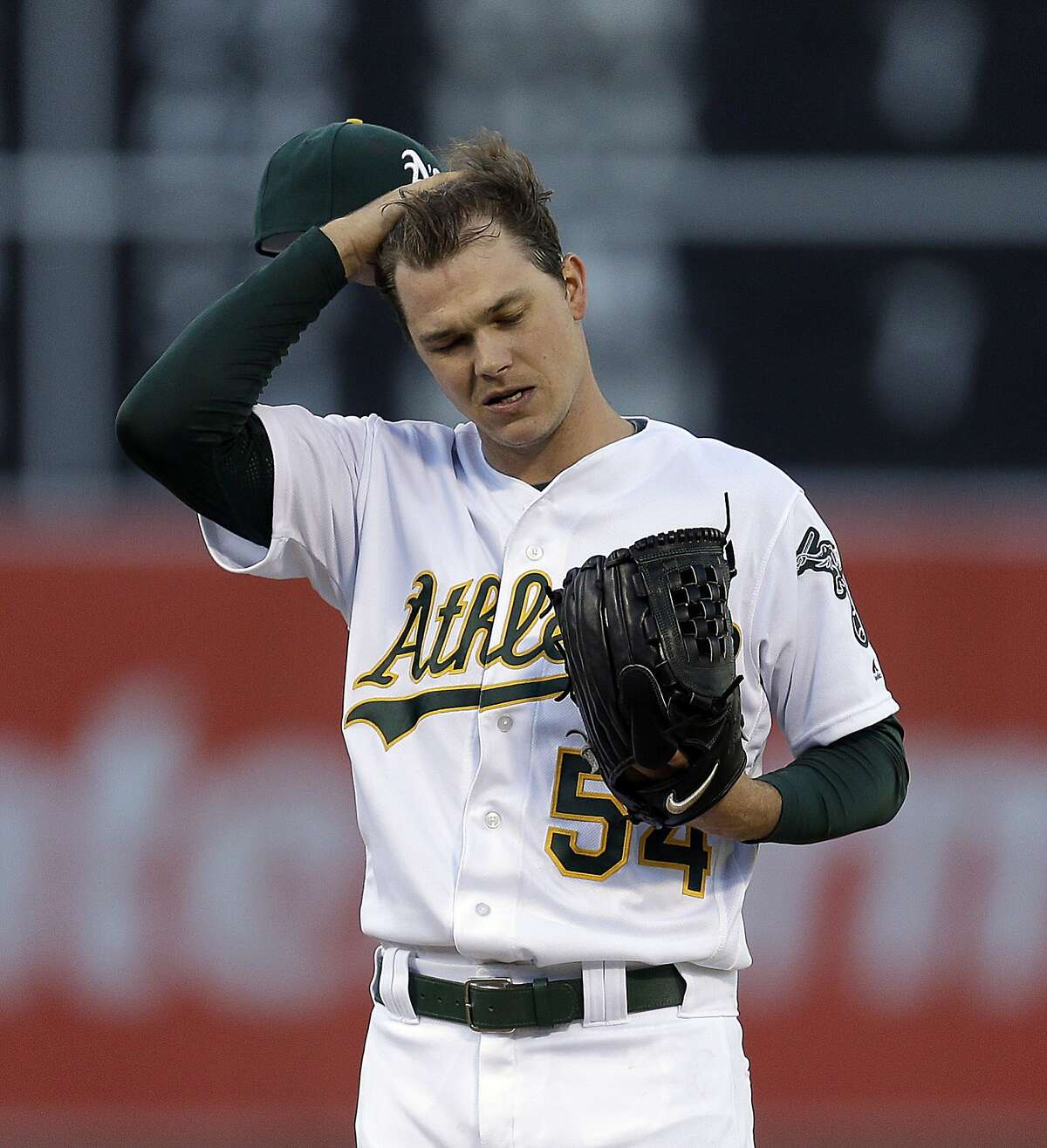 Oakland Athletics pitcher Sonny Gray in the first inning of a baseball game against the Milwaukee Brewers Tuesday, June 21, 2016, in Oakland, Calif. (AP Photo/Ben Margot)