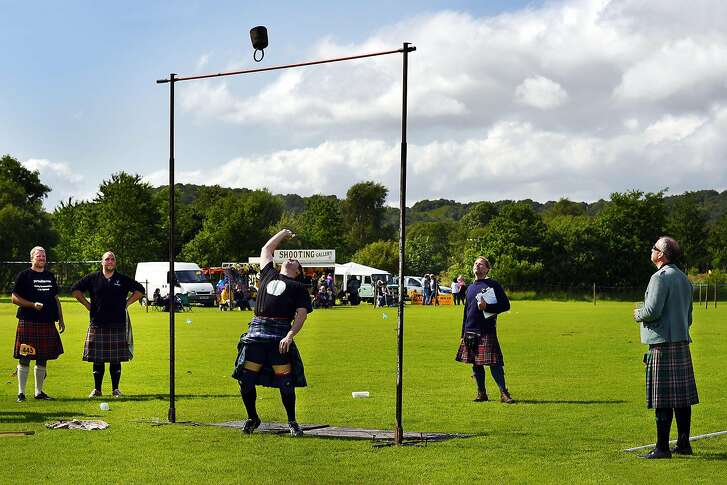 Many Highland Games events in Scotland feature robust competitors hurling massive weights, such as tossing a weight over a 10-foot-high bar using only one hand.