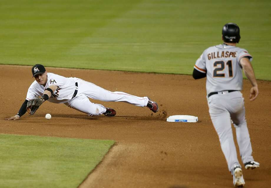 Marlins shorstop dives to stop a blind, rolling throw from second baseman Dee Gordon in the fourth inning. Rojas tagged Gillaspie for the out. Photo: Wilfredo Lee, Associated Press