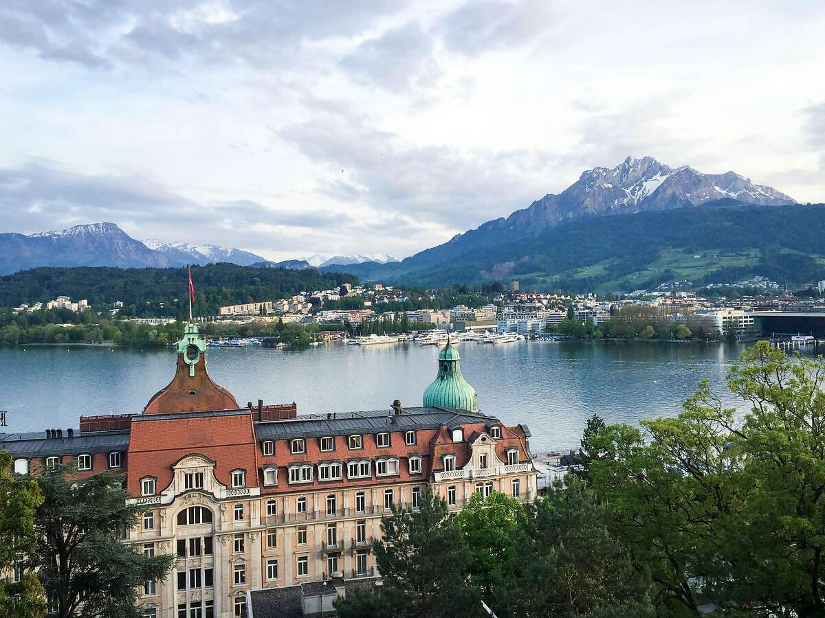 Cocktail-time views of Lake Lucerne and Mount Pilatus from the Art Deco Hotel Montana.