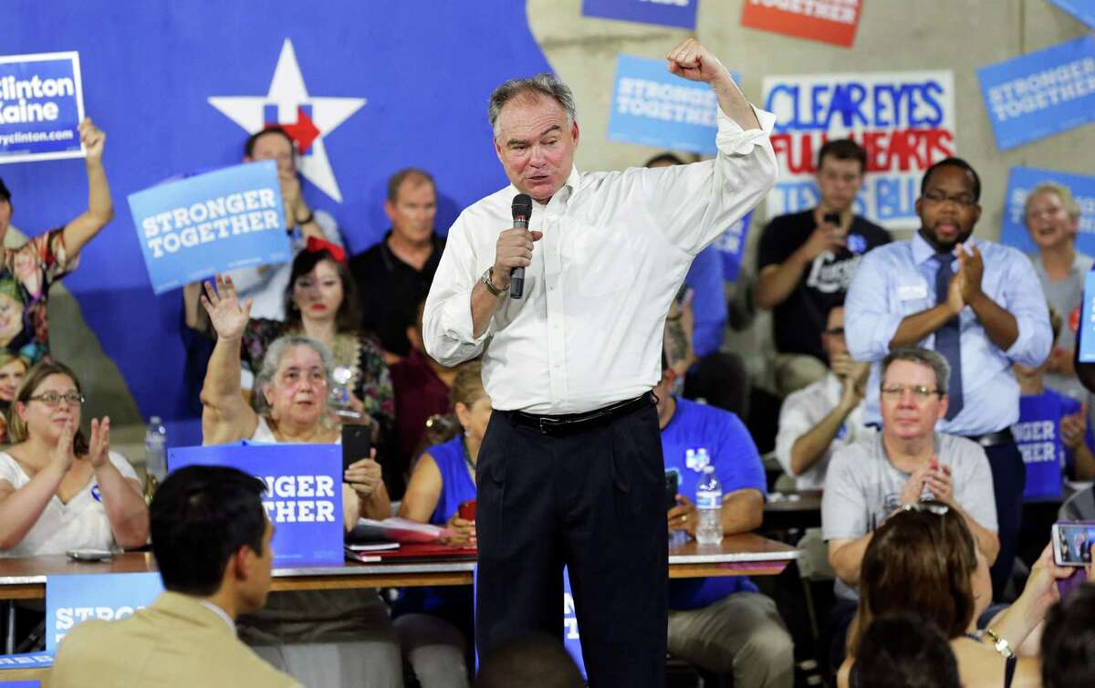 Tim Kaine pumps up Hillary Clinton supporters as he speaks in Austin on August 9, 2016