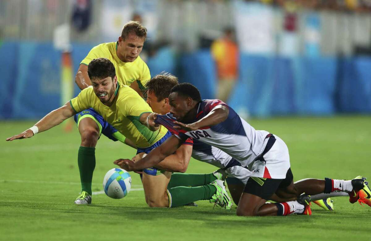 Brazil and the United States engage in the usual rough-and-tumble rugby action that was a bit too rough for the Brazilians, who lost 26-0.