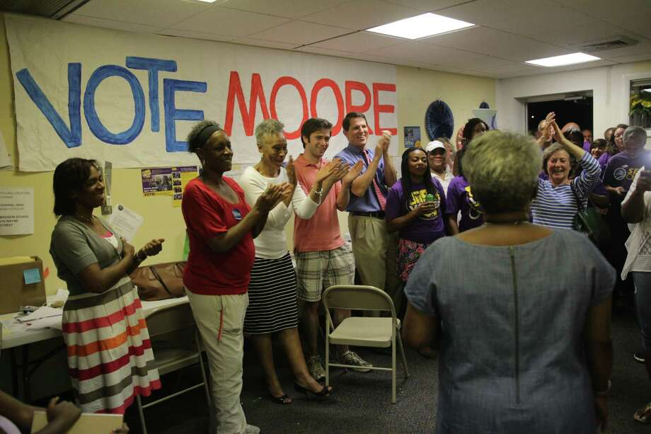 Marilyn Moore addresses supporters after declaring victory in Tuesday night's election. Photo: / Cedar Attanasio