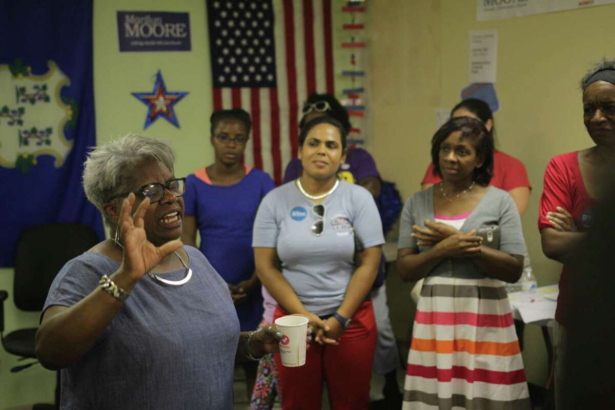 Marilyn Moore addresses supporters after declaring victory in Tuesday night's election.