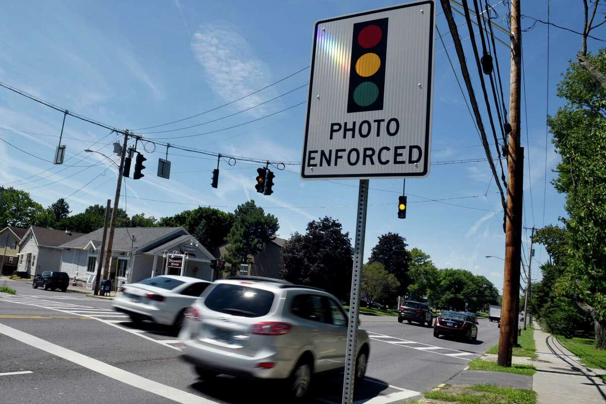 Photo-monitored intersection looking westbound on Western Avenue at Russell Road on Tuesday, Aug. 9, 2016, in Albany, N.Y. (Cindy Schultz / Times Union)