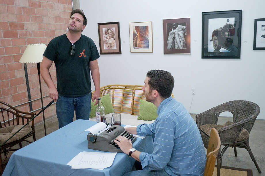 """Drake Simpson (in black) and Nick Farco (in blue) in rehearsals for a new Fourth Wall Theatre production of Sam Shepard's """"True West.""""Photo By R. Clayton McKee Photo: R. Clayton McKee, Freelance / © R. Clayton McKee"""