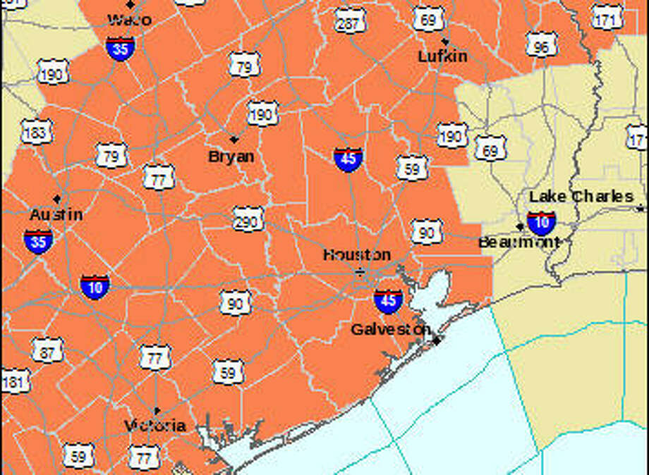 For the third consecutive day, a Heart Advisory has been issued between 1 p.m. and 7 p.m. Wednesday for the Houston area and much of southeast Texas as the mercury climbs to nearly 100 degrees. (National Weather Service)