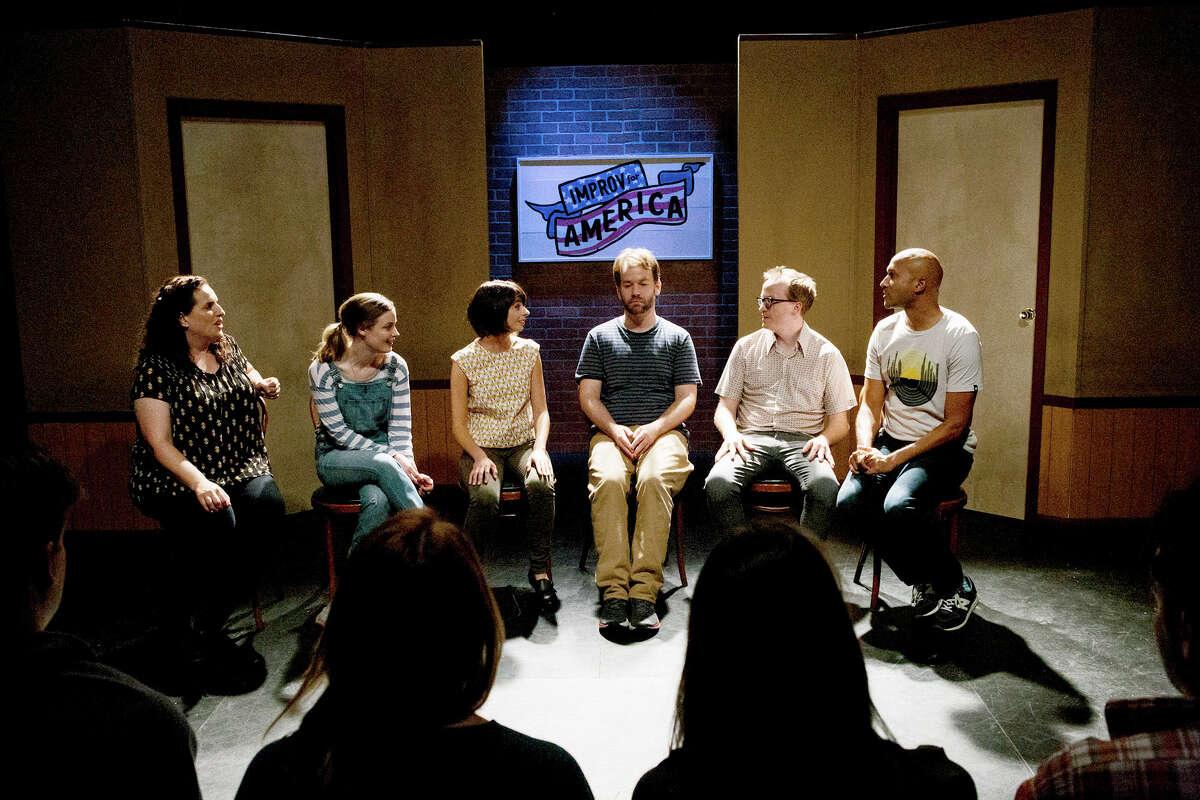 "(L-R) Tami Sagher (Lindsay), Gillian Jacobs (Samantha), Kate Micucci (Allison), Mike Birbiglia (Miles), Chris Gethard (Bill), Keegan-Michael Key (Jack) in ""Don't Think Twice."" MUST CREDIT: Jon Pack, The Film Arcade"