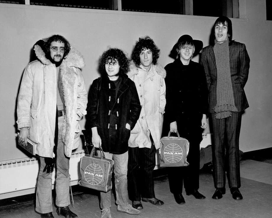 "1968:  (L-R) John McVie, Jeremy Spencer, Peter Green, Danny Kirwan and Mick Fleetwood of the rock group ""Fleetwood Mac"" pose for a portrait holding Pan Am bags in 1968. (Photo by Michael Ochs Archives/Getty Images) Photo: Michael Ochs Archives"